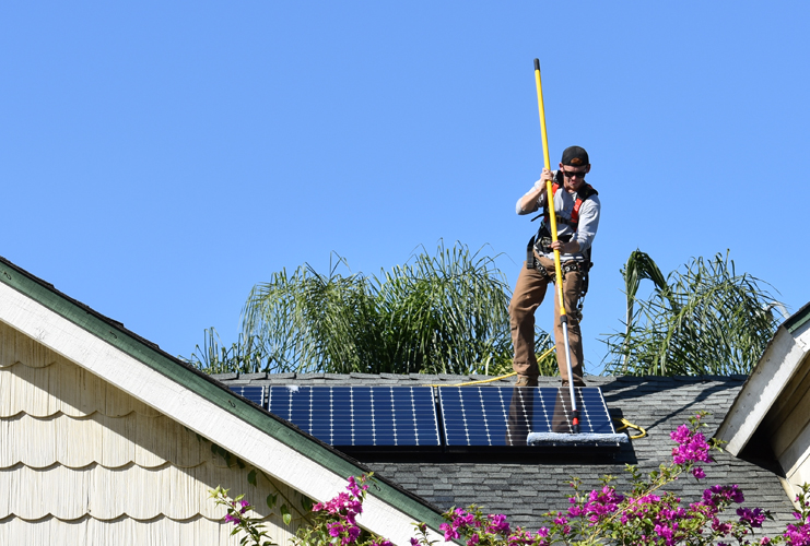 solar panel cleaning using brush tool